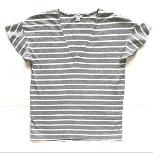 J.Crew Ruffled Sleeves V Neck Striped Tshirt Us S